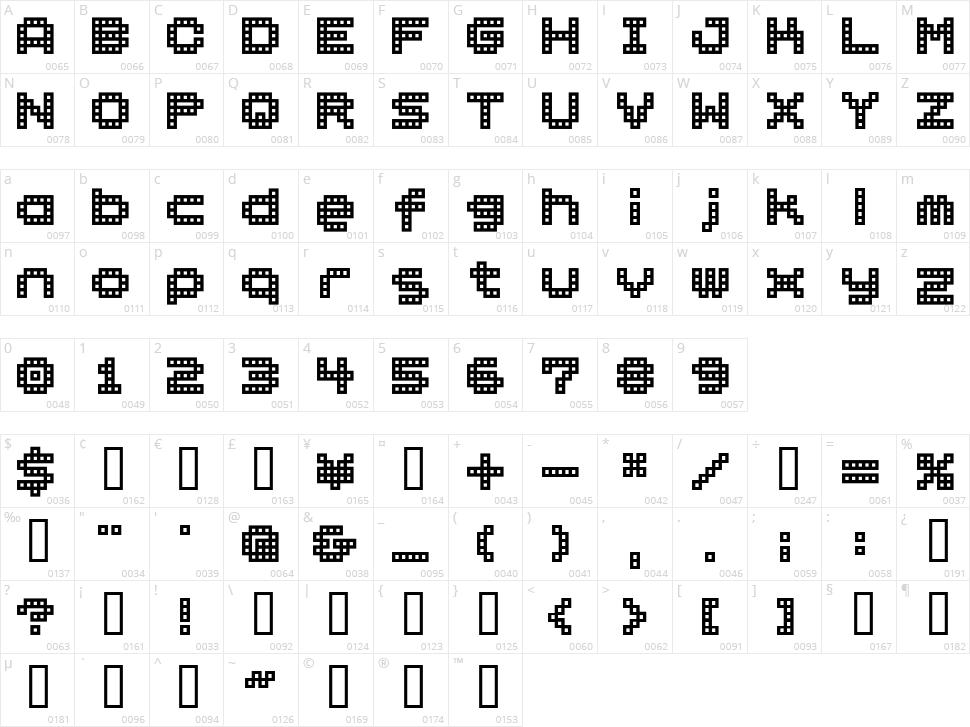 BM Block Character Map