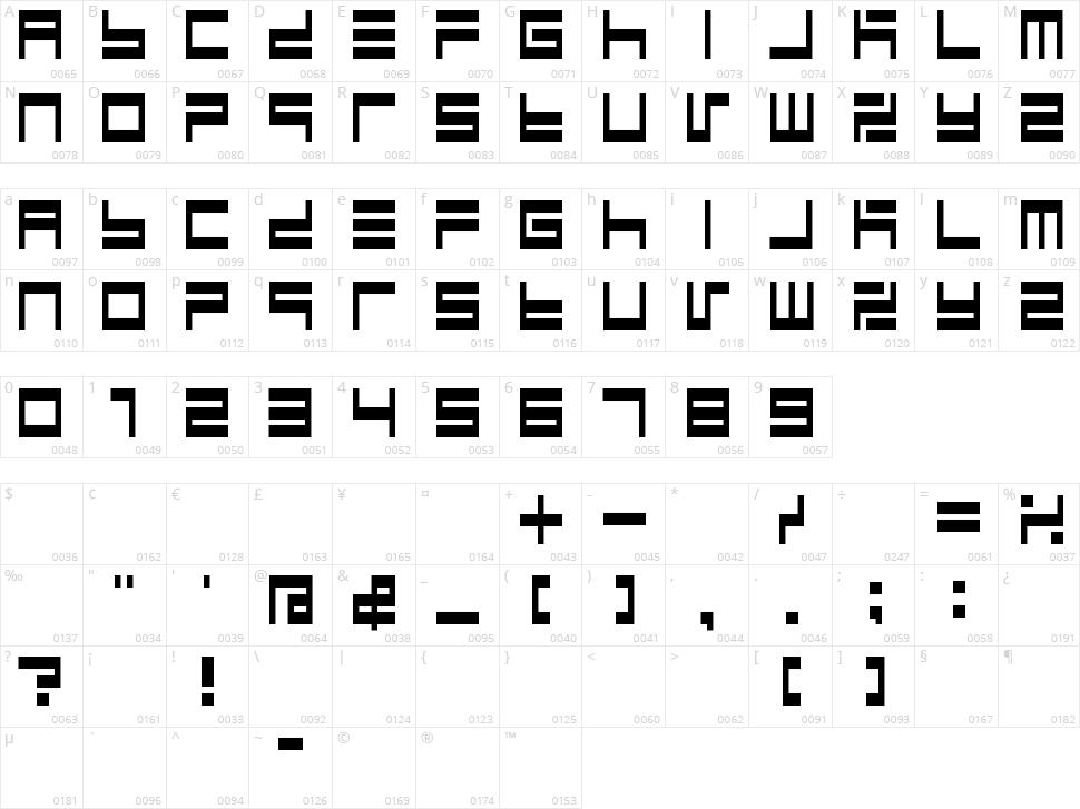 BM Maze Character Map