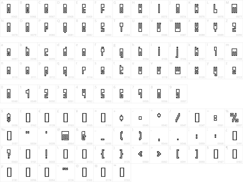 BM Utopia Character Map