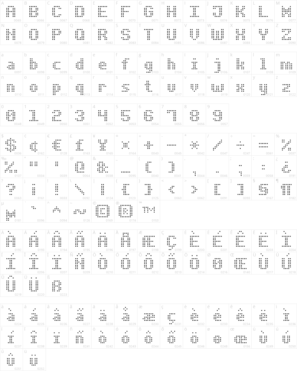 Bold Dot Digital-7 Character Map