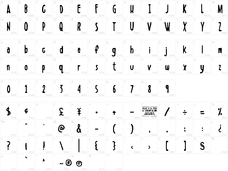 Boldenstein Character Map