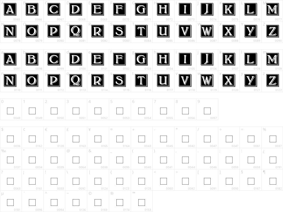 Bolton Drop Caps Character Map
