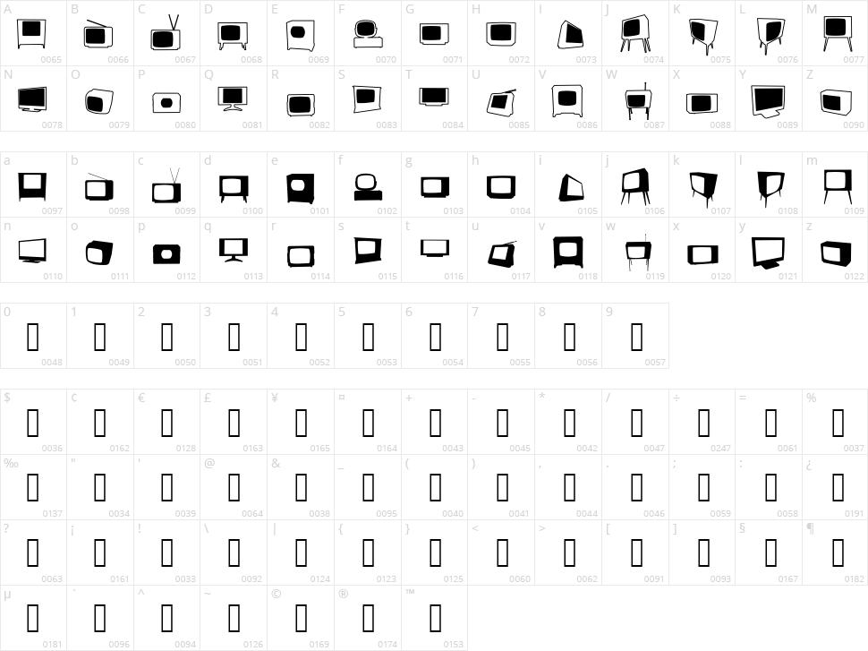 Bonohadavision Character Map