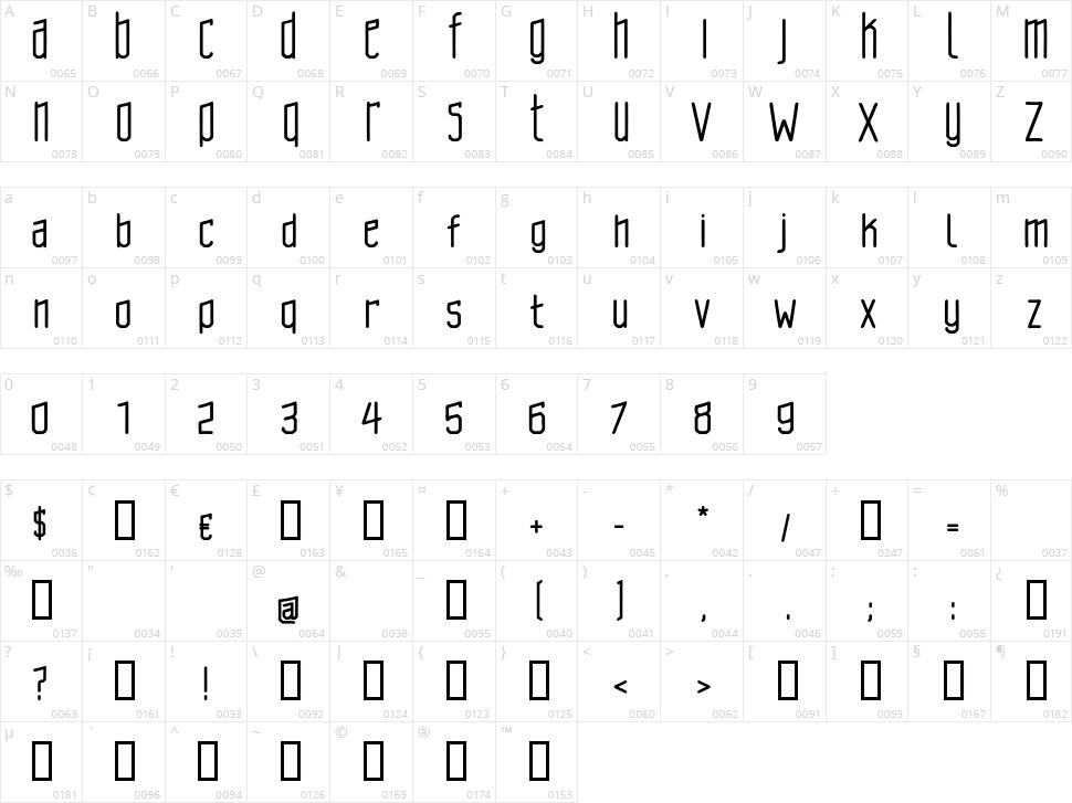 Brasilcao Character Map