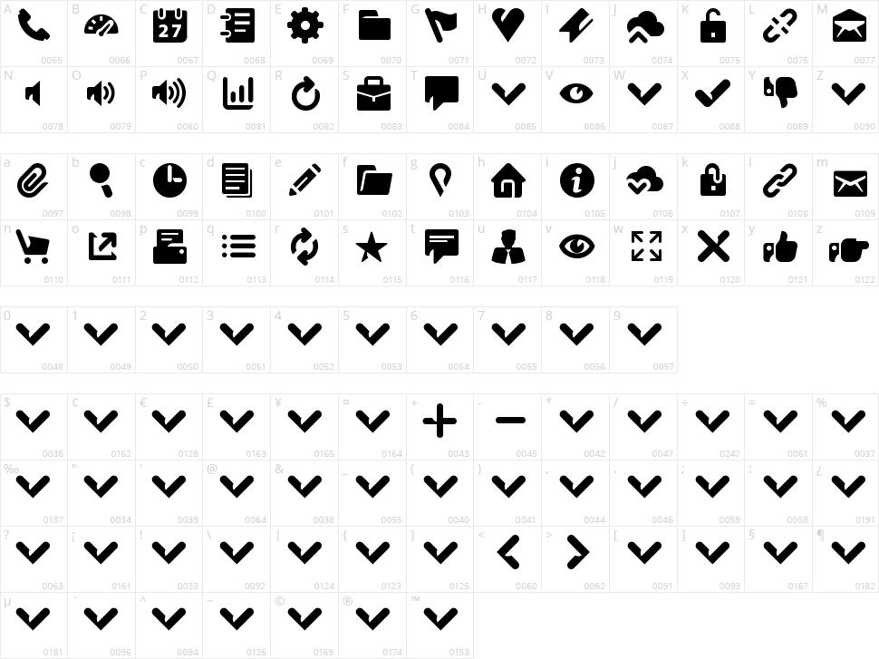 Breezi Icon Set Character Map
