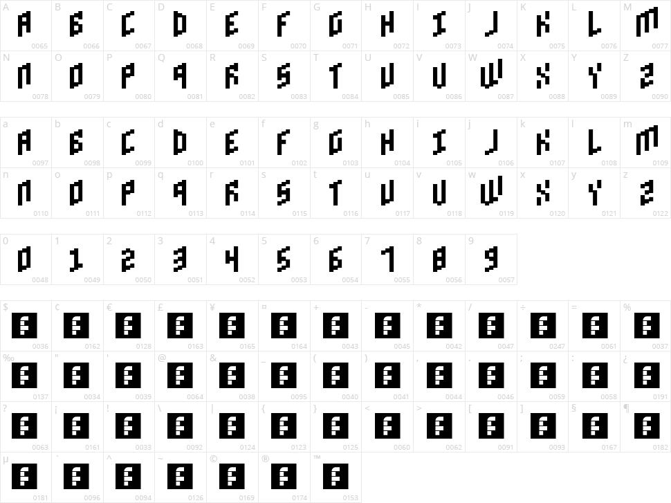 Brick Bold Character Map