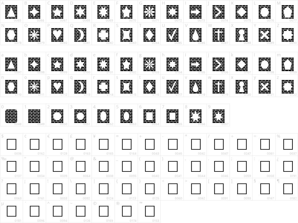 Bricks n Things Character Map
