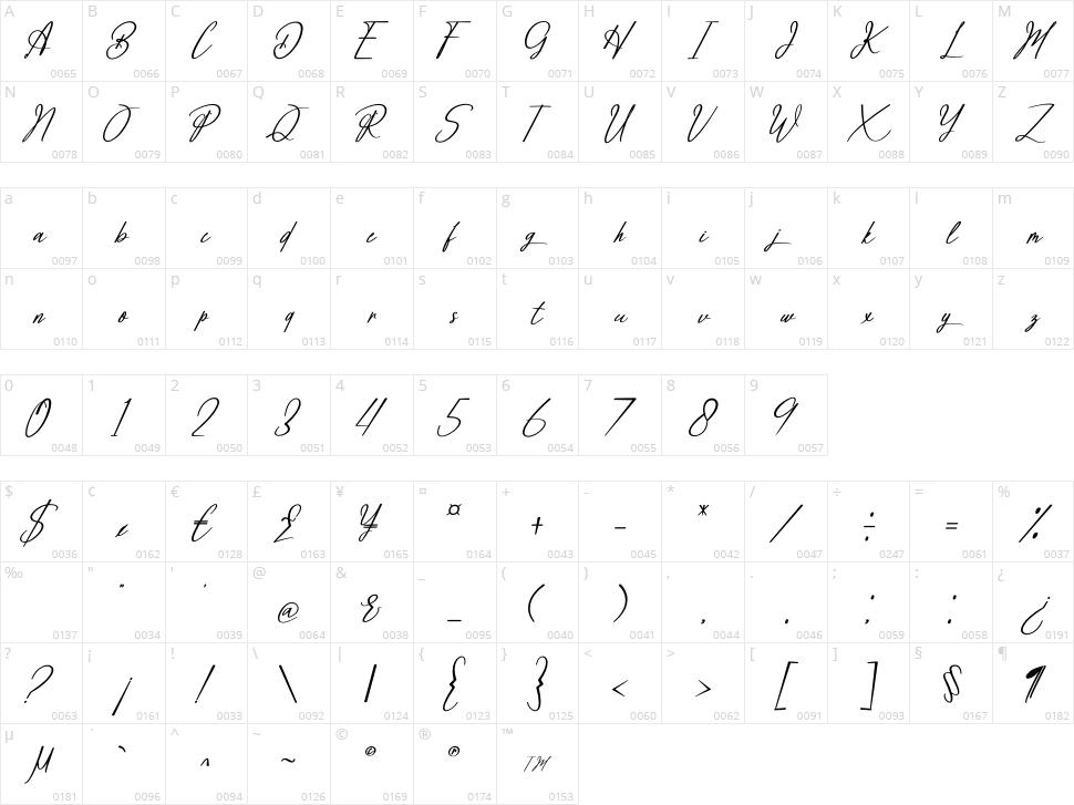 Brilliant Signature Character Map