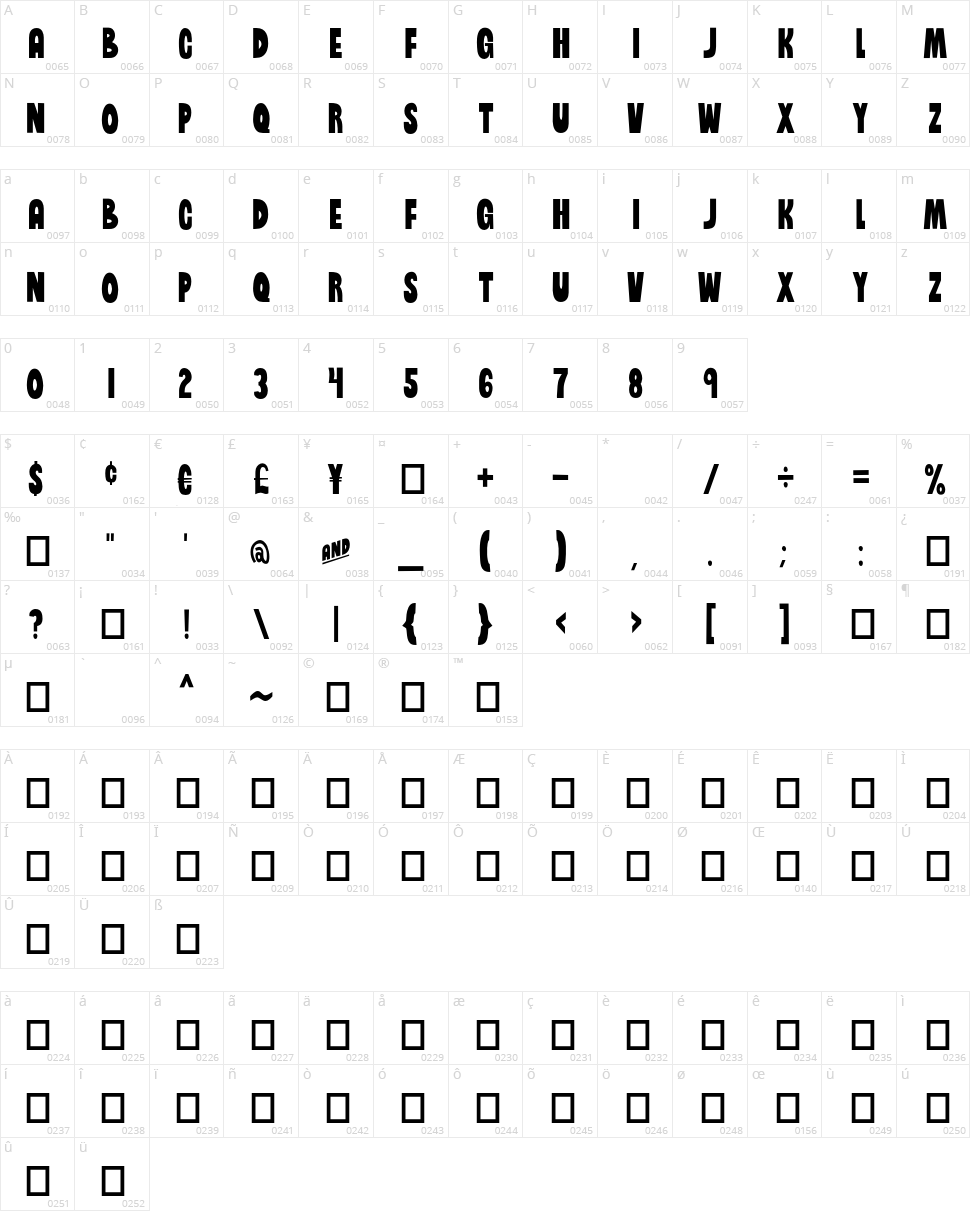 Brinetext Black Character Map