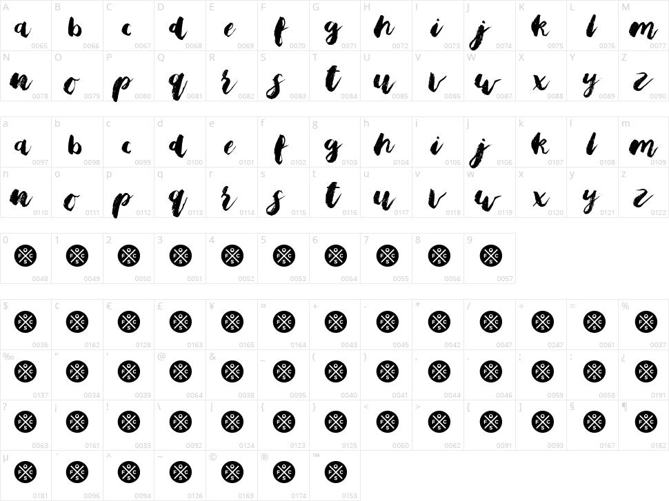 Bristle Brush Script Character Map
