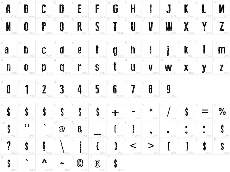 Broken Type Character Map