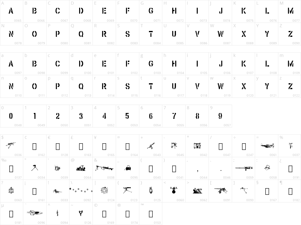Browning Character Map