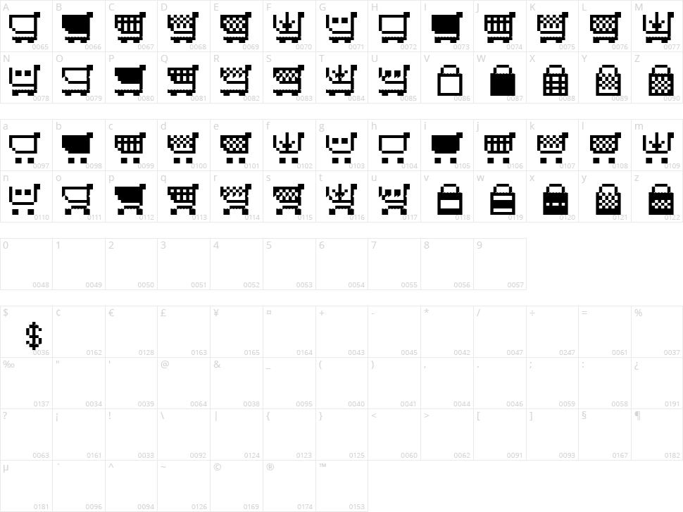 Btd Cart-O-Grapher Character Map