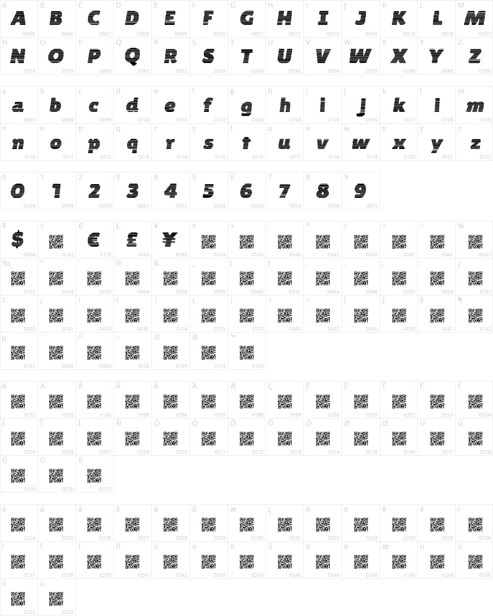 Byte Shades Character Map