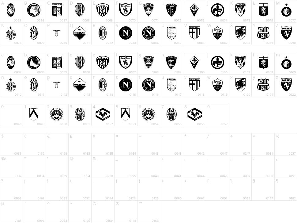 Calcio Character Map