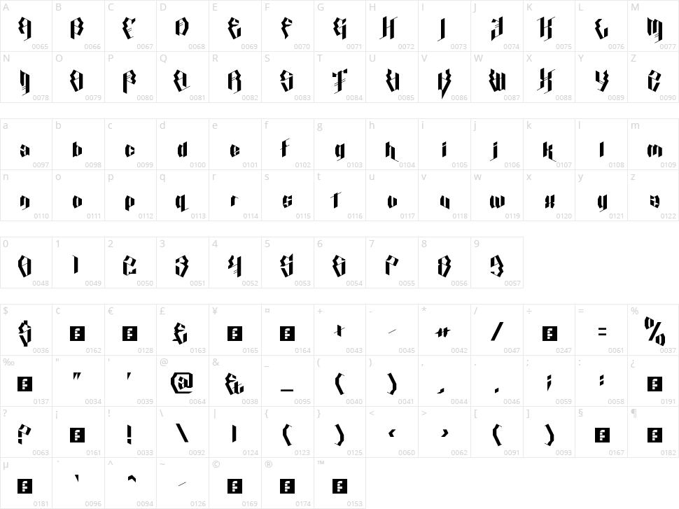 Calligraphy Aquiver Character Map