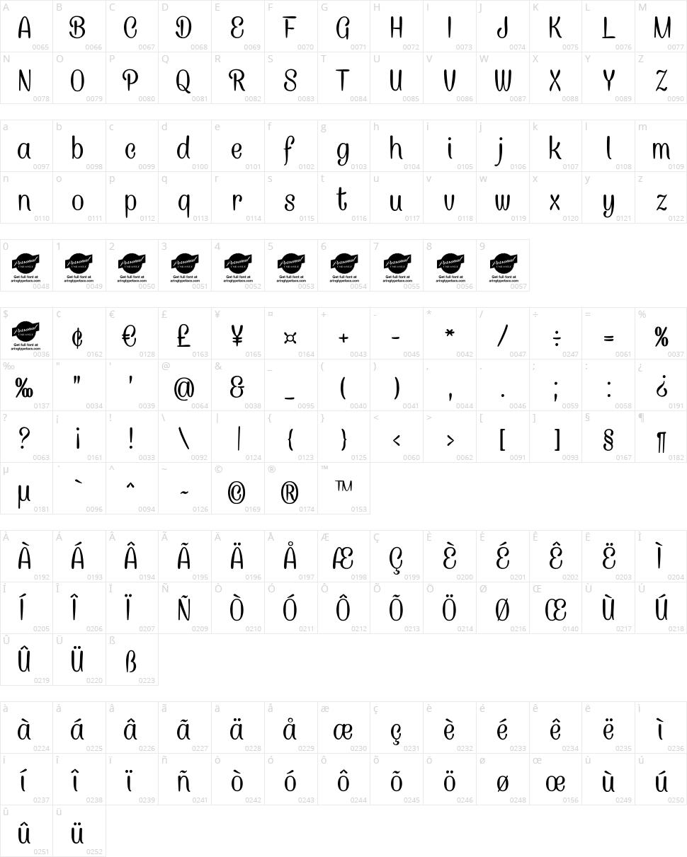Caneletter Sans Character Map