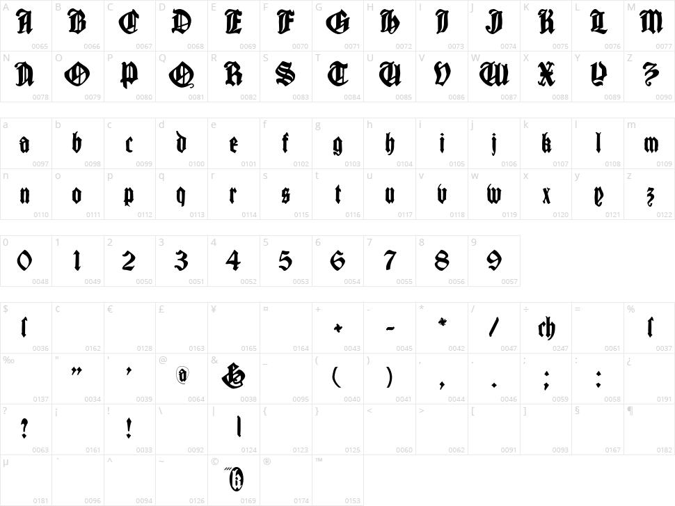 Cantara Gotica Character Map
