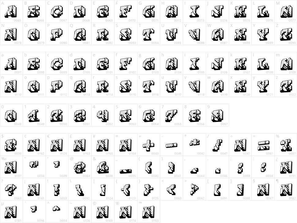 Cauterise Character Map