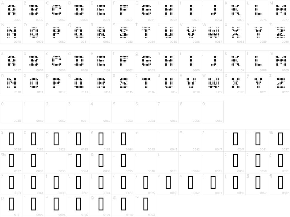 CF Dots 521 Character Map