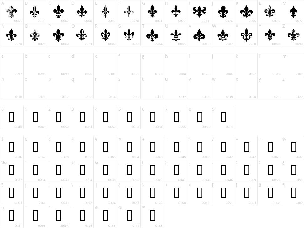 CF Fleurs de Lys Character Map
