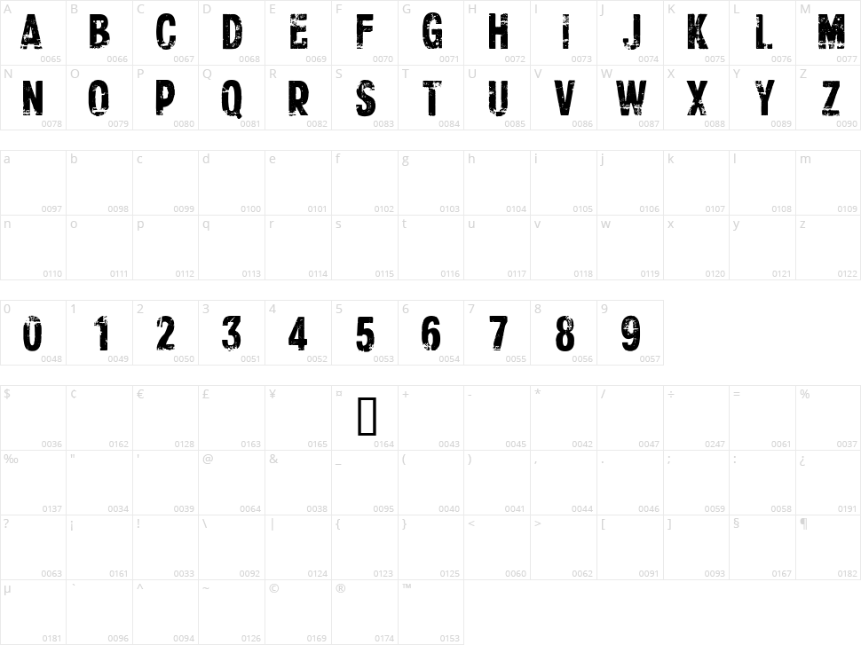 CF Xerography Character Map