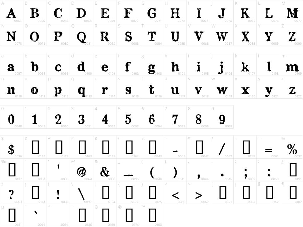 Chenier Character Map
