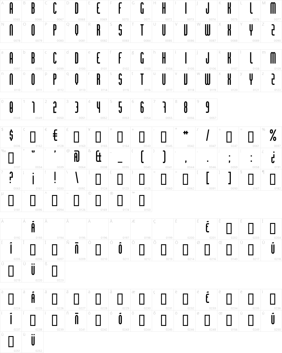 Chingolo Pro Character Map
