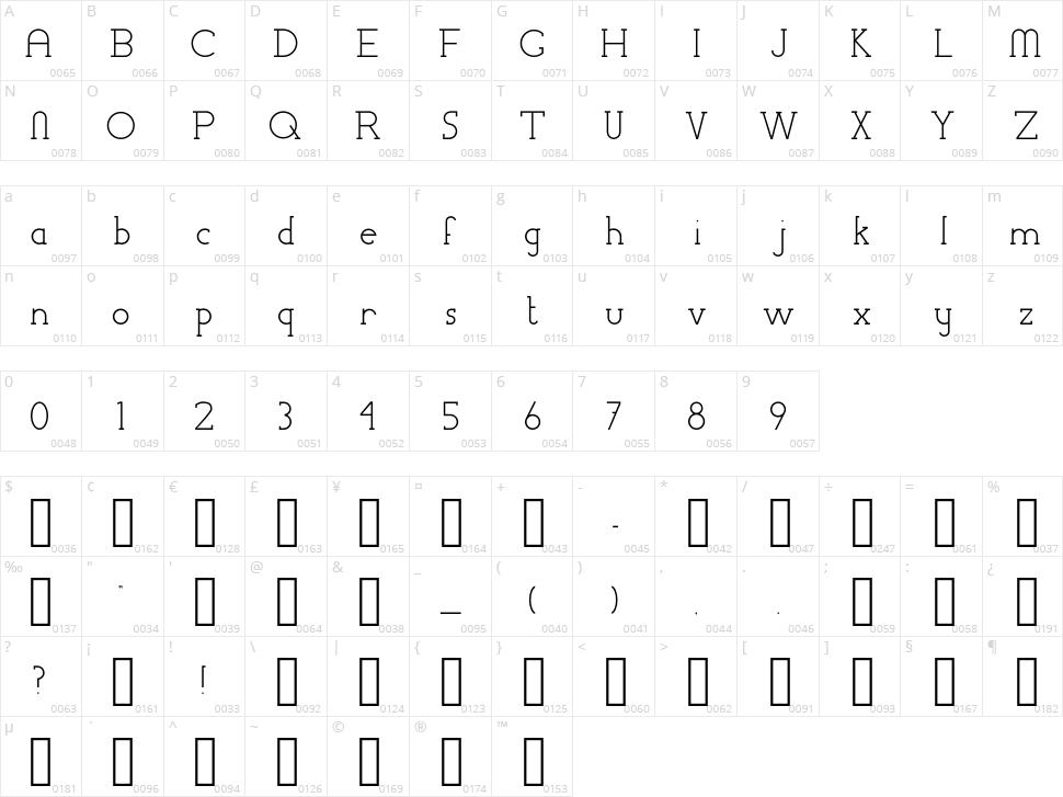 Chremsel Serif Character Map
