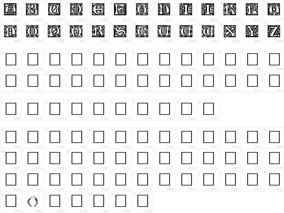 Christensen Caps Character Map