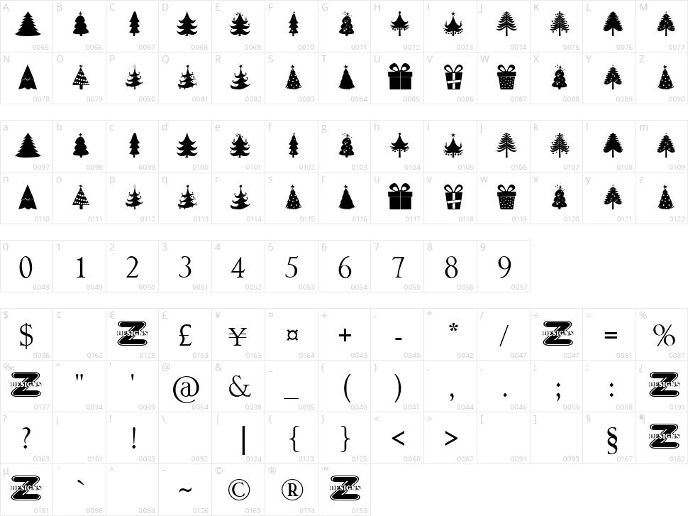 Christmas Trees Character Map