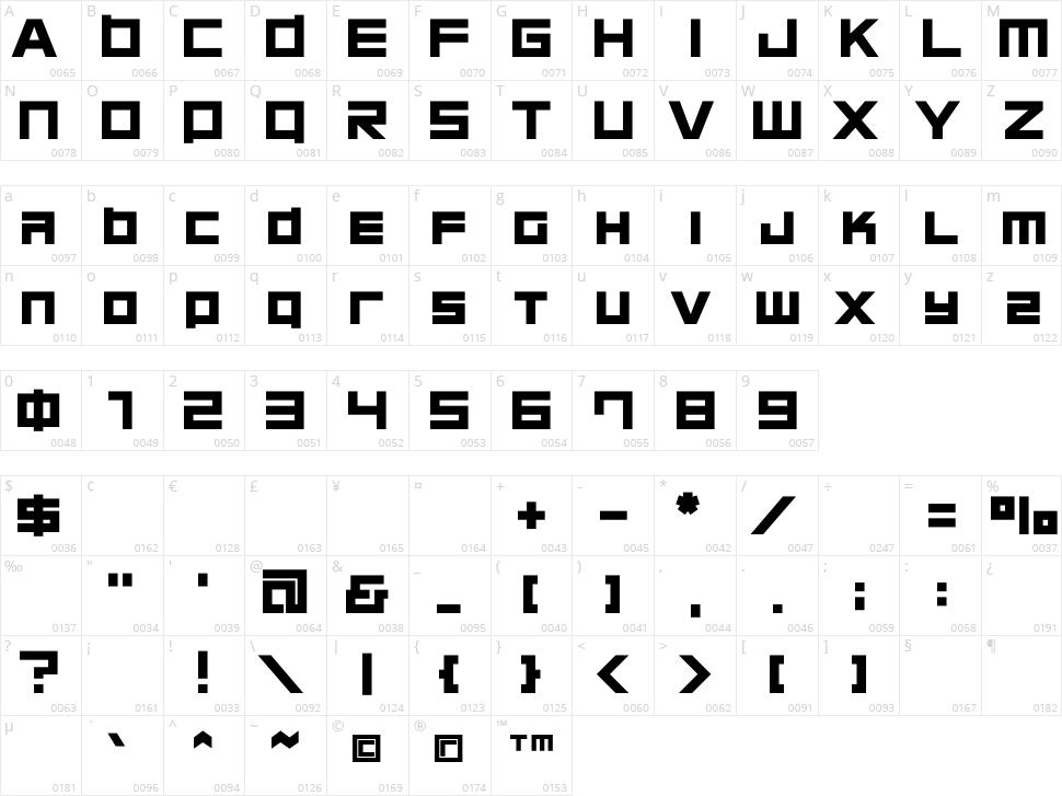 Chubu 08 Character Map