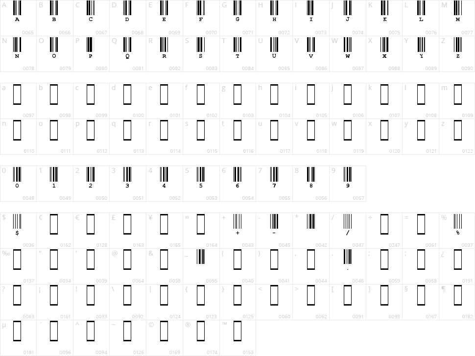 CIA Code 39 Character Map