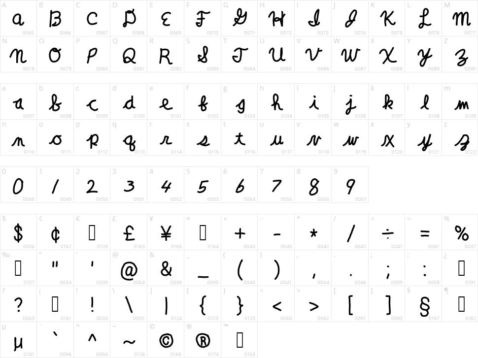 Clara Lee Cursive Character Map
