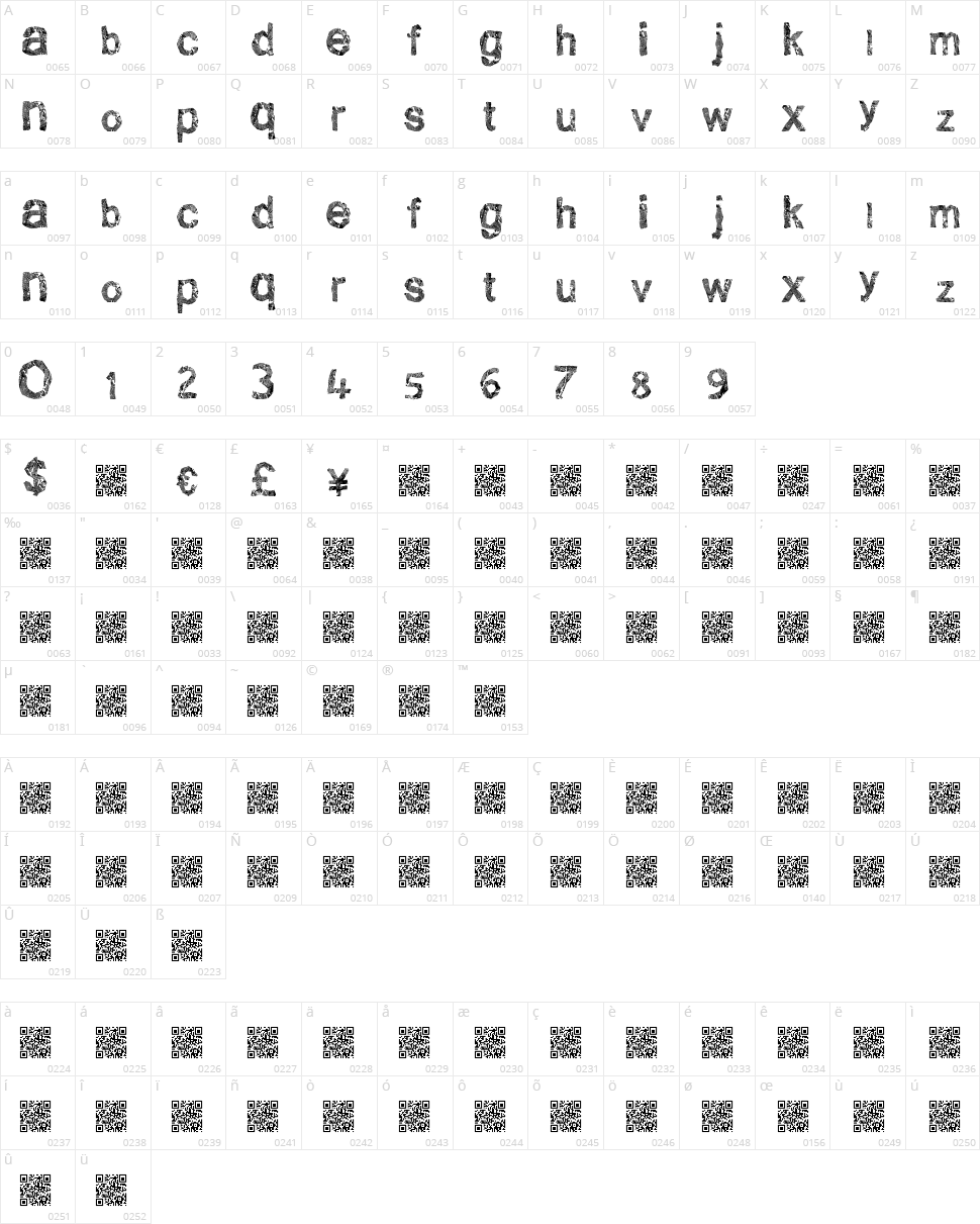 Clean Scratch Character Map