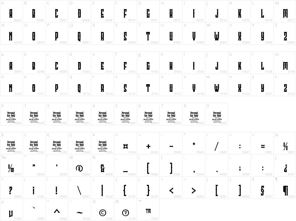Clobot Character Map