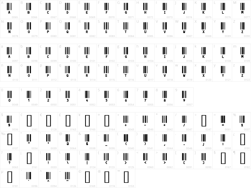 Code 3X Character Map