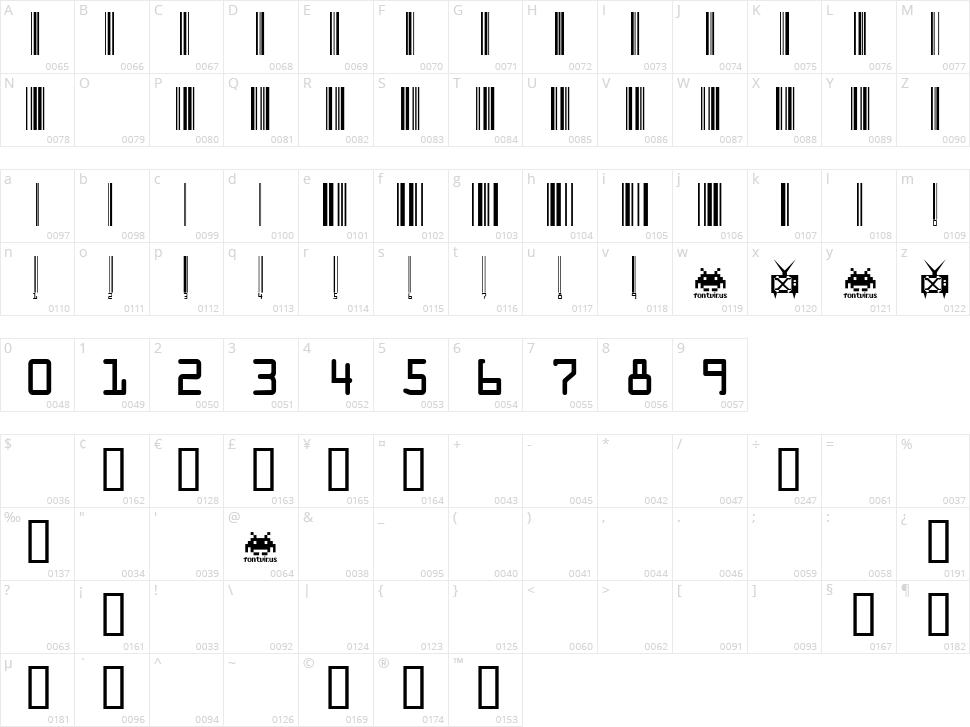 Code Xero Character Map