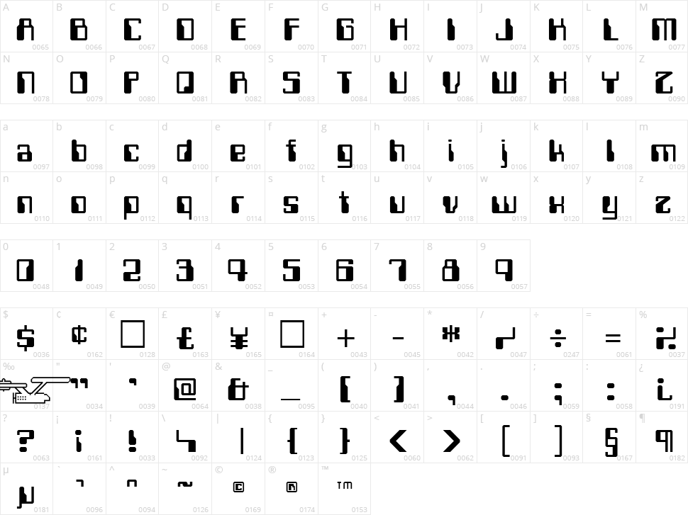 Computerfont Character Map