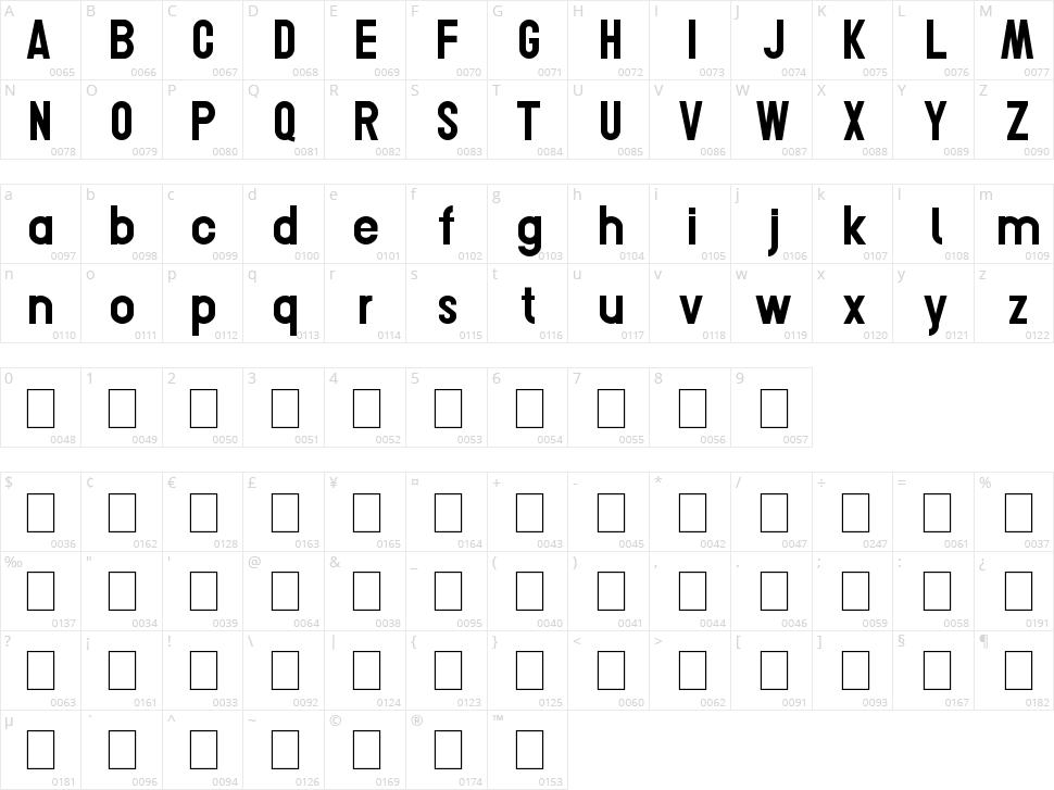 Conero Character Map