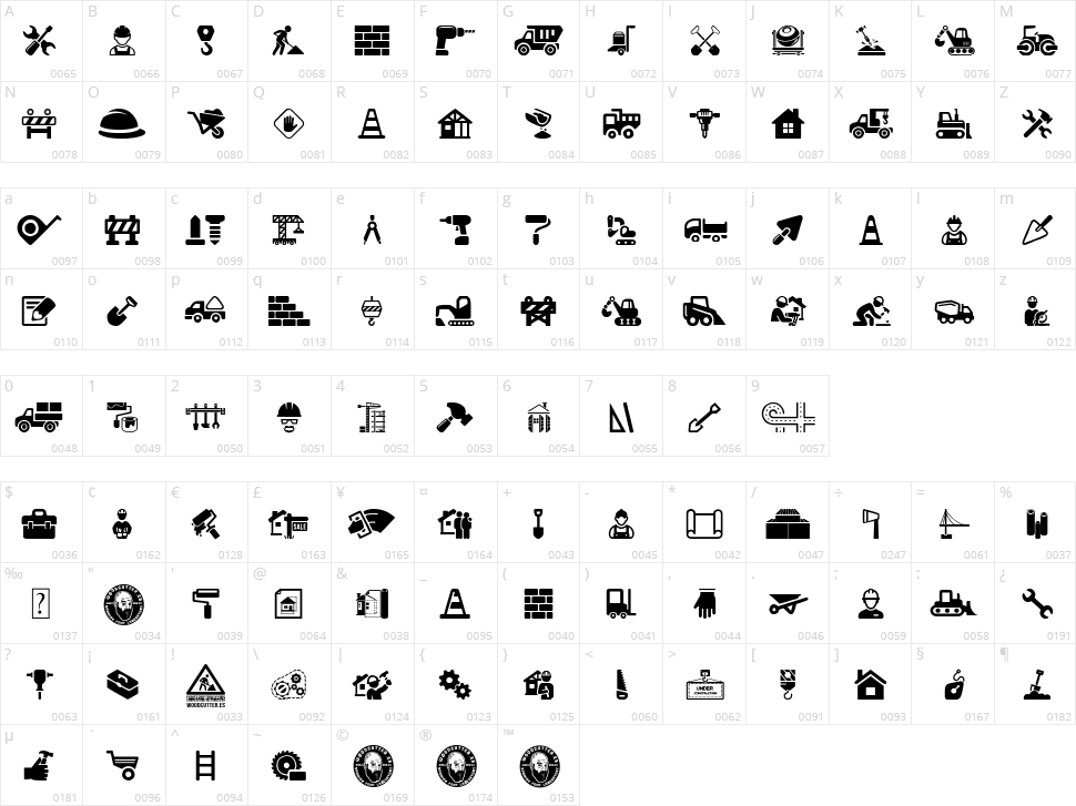 Construction Icons Character Map