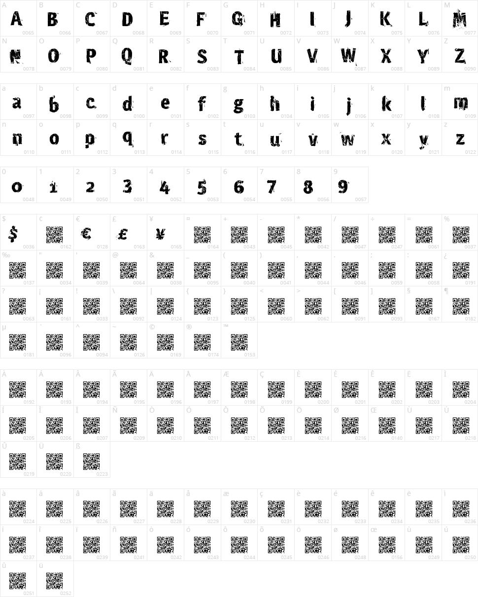 Crash Site Character Map