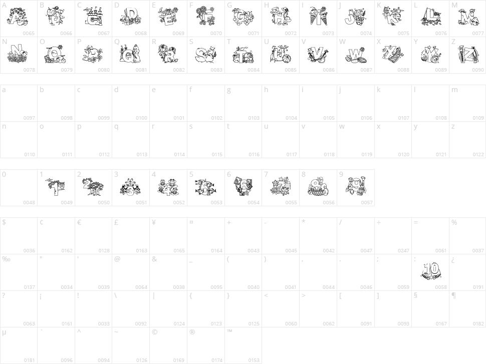 Crayola Kiddy Font Character Map