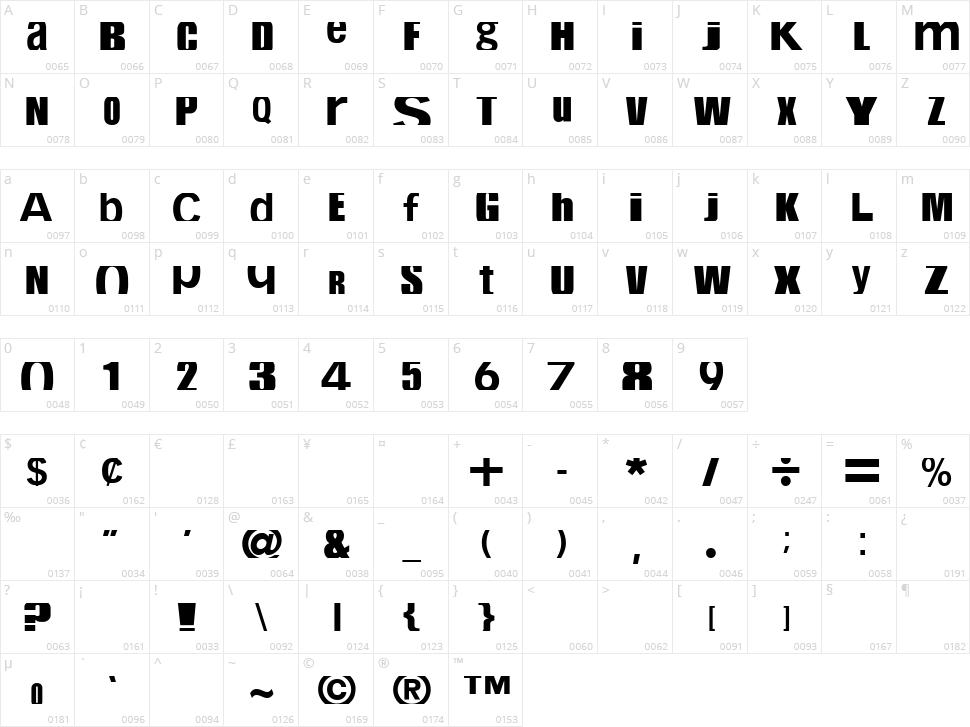 CropFont Character Map