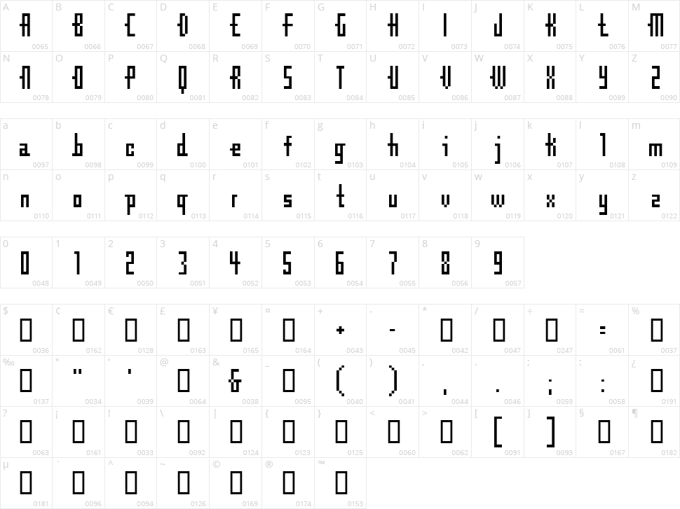 CubeBitmap Character Map