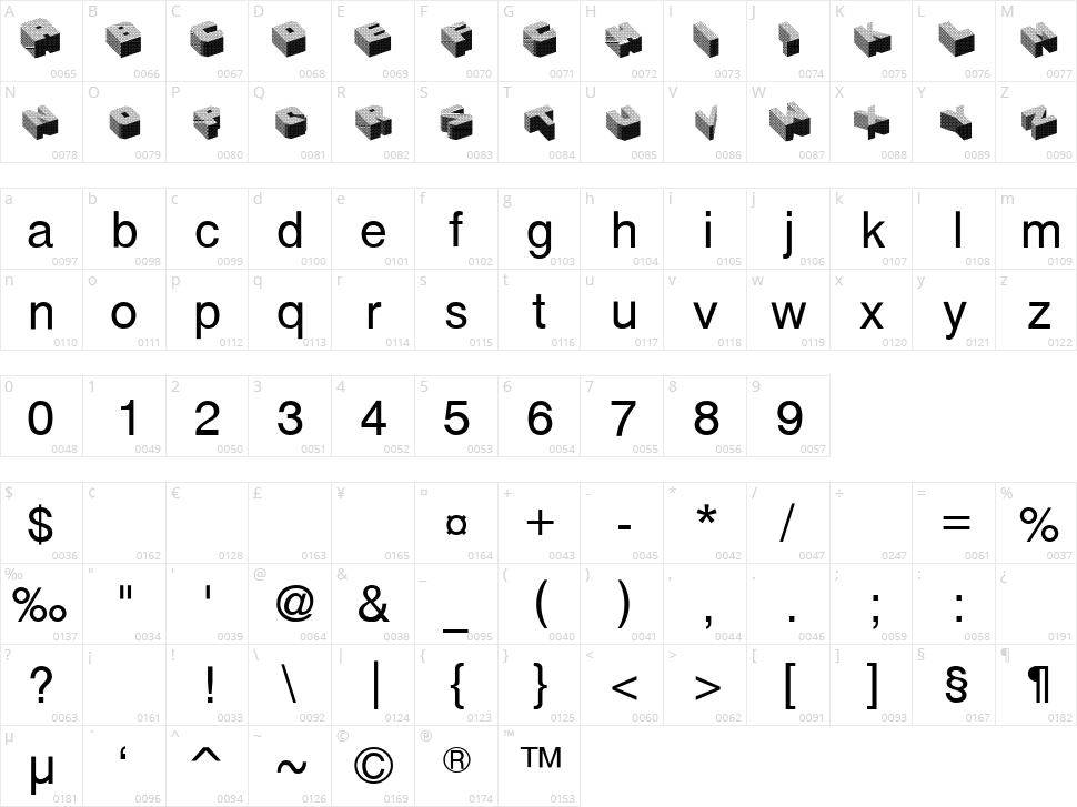 Cubefont Character Map