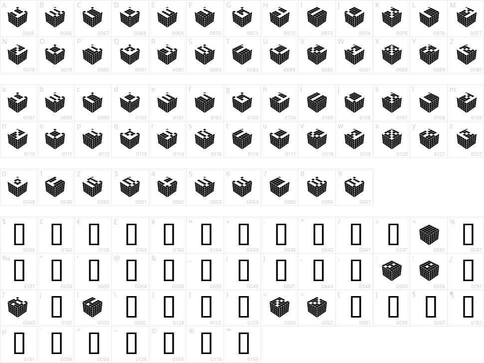 Cubic Dot Character Map