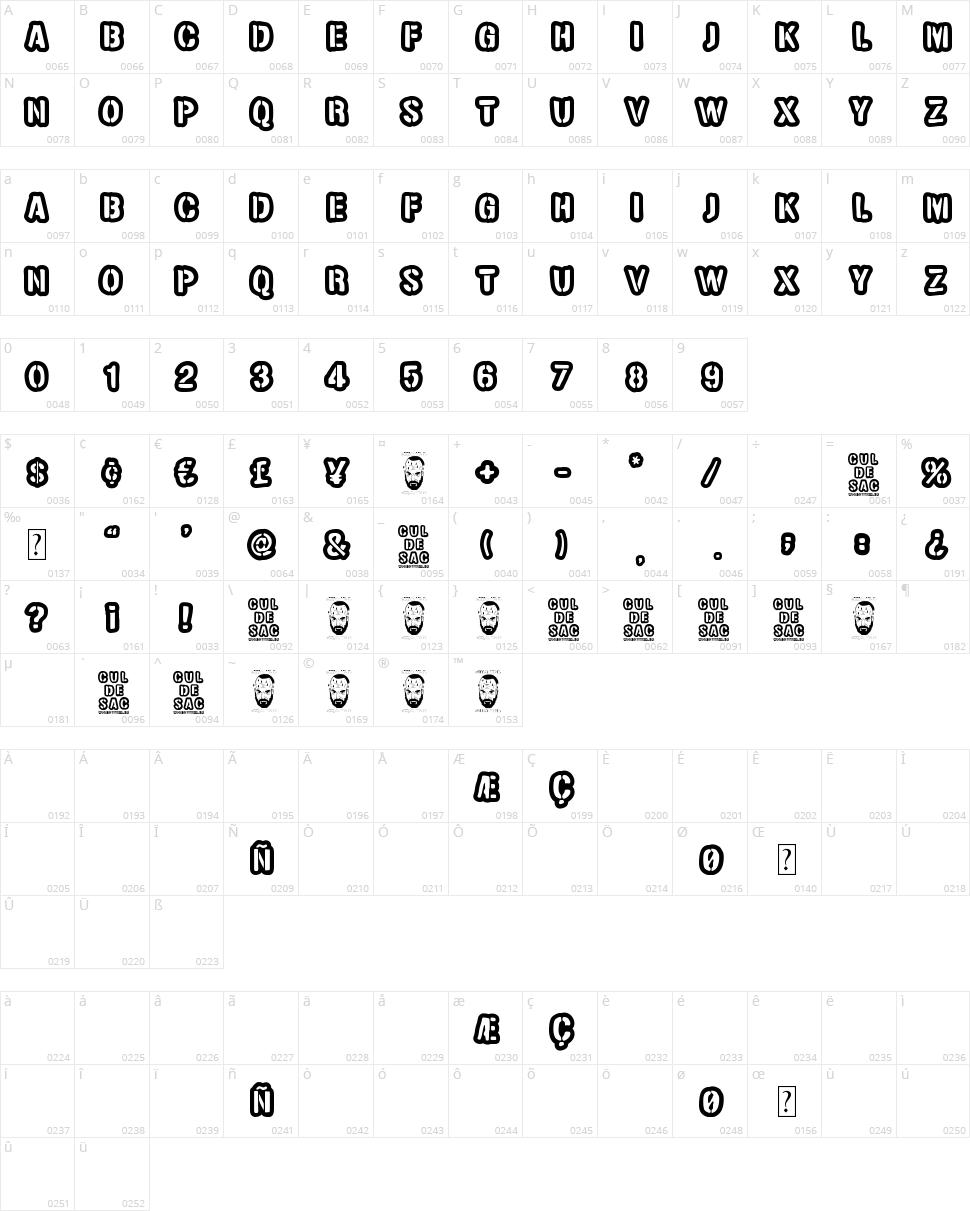Cul de sac Character Map