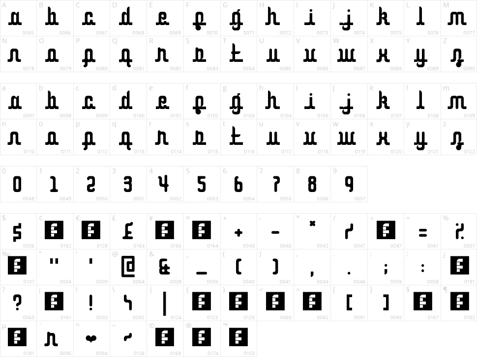 Curvaceous Script Character Map