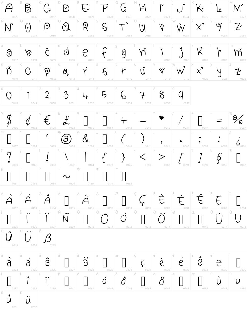 Cute Heart Font Character Map